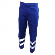 Flame Retardant Trouser with Hi-Visability Reflector Tape, Back Pocket and Flap fastened with Studs, Made in England