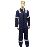 Coveralls Front Fastening with Hi-Visability Reflector Tape - PolyCotton, Made in England