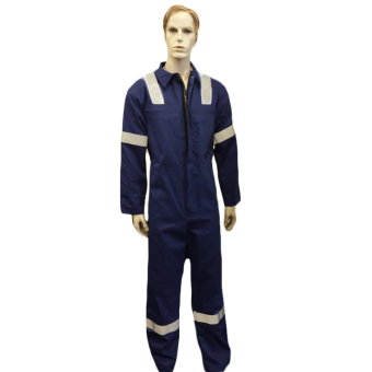 Coveralls Front Fastening with Hi-Visability Reflector Tape - PolyCotton