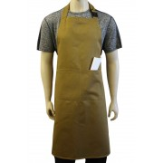 Khaki Bib Apron with Secured Neck Strap Clip Fastening and Double Centre Pocket, Made In England