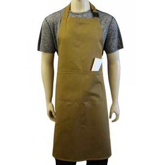 WSC Workwear Khaki Bib Apron with Secured Neck Strap Clip Fastening and Double Centre Pocket, Made In England