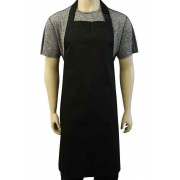 WSC Workwear Black Bib Apron with Secured Neck Strap Clip Fastening and No Pockets, Made In England