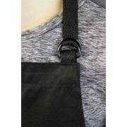 WSC Workwear Black Bib Apron with Secured Neck Strap D-Rings and Double Centre Pocket, Made In England