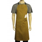 WSC Workwear Khaki Bib Apron with Secured Neck Strap D-Rings and Double Centre Pocket​, Made In England