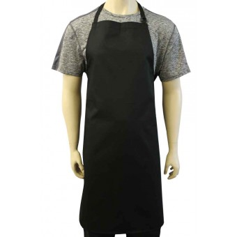 WSC Workwear Black Bib Apron with Secured Neck Strap D-Rings and No Pockets, Made In England