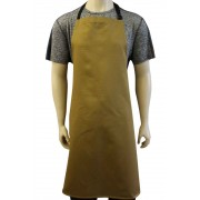 WSC Workwear Khaki Bib Apron with Secured Neck Strap D-Rings and No Pockets, Made In England