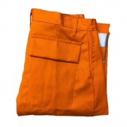Flame Retardant Hi Vis Trouser with Back Pocket & flap fastened with studs, Made in England