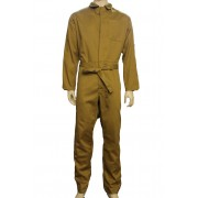 Khaki Coverall Boilersuit - Fastened with 7 Concealed Buttons & Self Fabric Waist Belt - 100% Cotton, Made in England
