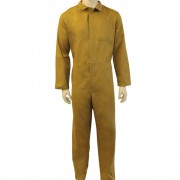 Khaki Coverall boilersuit Front Fastening with 7 concealed buttons - 100% Cotton, Made in England