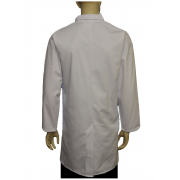 FOOD COAT WITH BLUE COLLAR FASTENED WITH 5 CONCEALED STUDS & Top Internal Pocket, Made in England