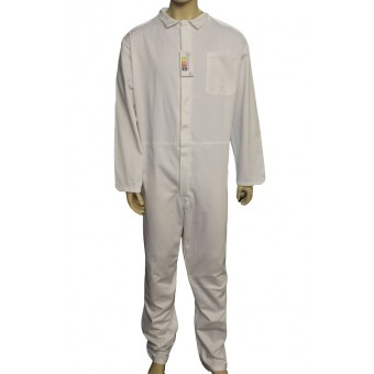 White Coverall Boilersuit Front Fastening with 7 Concealed Buttons - 100% Cotton, Made in England