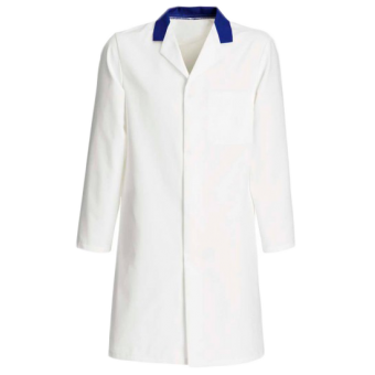 FOOD COAT WITH BLUE COLLAR FASTENED WITH 5 CONCEALED STUDS & Top Internal Pocket