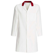 FOOD COAT WITH RED COLLAR FASTENED WITH 5 CONCEALED STUDS & Top Internal Pocket