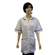 Hospital Tunic Fastened with Concealed Studs - Contrast Piping, Made in England